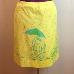 Vintage 70s/80s Yellow Green A Line Golf Skirt